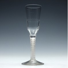 18th Century Opaque Twist Ale Glass With a Moulded Bowl