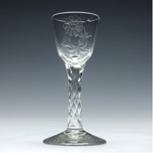 Engraved Facet Cut Stem Gin Glass c1780