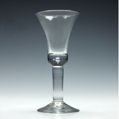 Very Tall Georgian Plain Stem Wine Glass With A Bell Bowl c1740