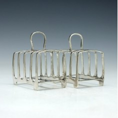 Pair of Yorkshire Silver Four Division Toast Racks Sheffield 1926