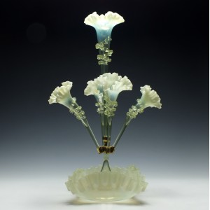 A Fine Five Horn Opalescent Glass Epergne