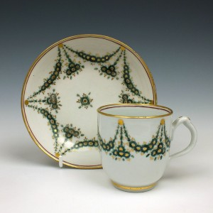 Rare New Hall Porcelain Coffee Cup and Saucer  c1790