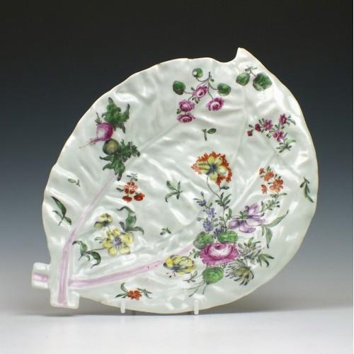 First Period Worcester Porcelain Leaf Dish c1760
