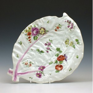 First Period Worcester Porcelain Leaf Dish c1760