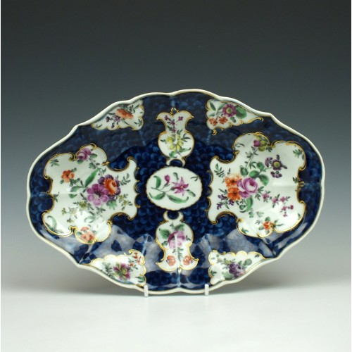 Worcester Porcelain Scale Blue Lozenge Dessert Dish c1770