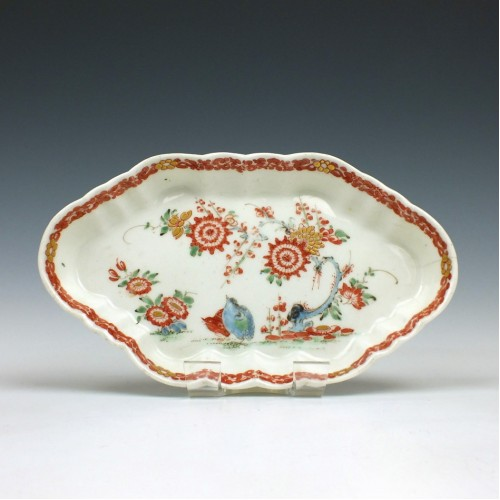 Worcester Porcelain Two Quail Pattern Spoon Tray c1765