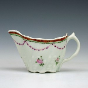 Lowestoft Polychrome Rose Pattern Low Chelsea Ewer, c1780
