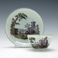 Worcester Porcelain Classical Ruins Tea Bowl and Saucer c1770
