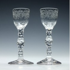 Pair Regency Facet Cut Stem Wine Glasses c1820
