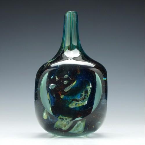 Signed Mdina Sculptural Glass Bottle 1978