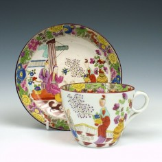 New Hall Mandarin Pattern Teacup and Saucer c1815