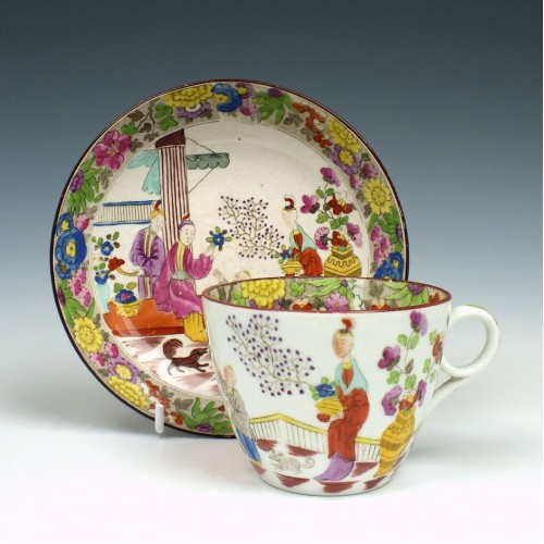New Hall Mandarin Pattern Teacup and Saucer c1815