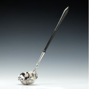 Masonic Engraved Georgian Silver Punch Ladle London 1746