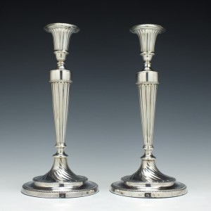 Pair Silver George III Candle Sticks Sheffield 1781