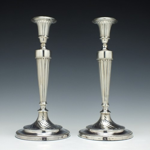 Pair Silver George III Candlesticks Sheffield 1781