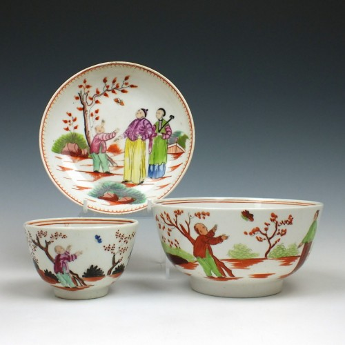 New Hall Boy and Butterfly Pattern Slop Bowl, teabowl and a Saucer c1800
