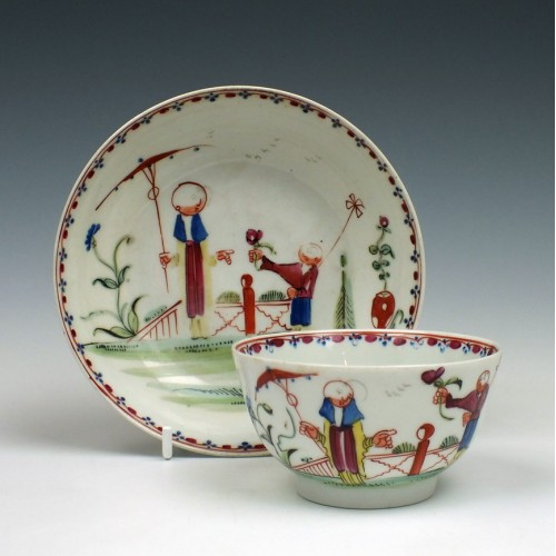 New Hall Porcelain Boy And Windmill Tea Bowl & Saucer c1785