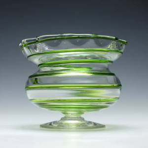 Stuart & Sons Art Nouveau Green Trailed Pedestal Bowl