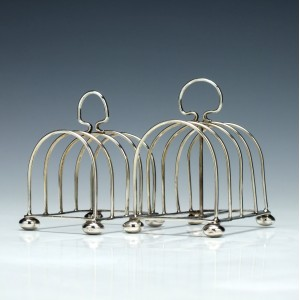 Two Silver Four Division Toast Racks Cheter 1913