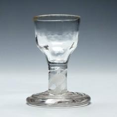 Rare Georgian Terraced Foot Opaque Twist Dram Glass c1760