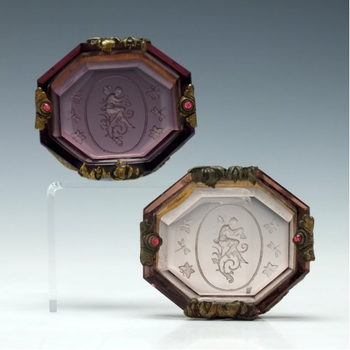 Two Engraved French Empire Amethyst Glass Salts c1820
