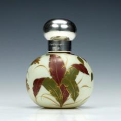 Thomas Webb Silver Topped Ivory Glass Perfume Bottle 1889