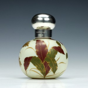 Thomas Webb Silver Topped Ivory Glass Perfume Bottle 1889
