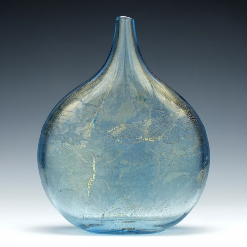 Azure Blue Isle of Wight Azurene Glass Lollipop Vase c1993