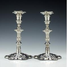 Pair George III Sterling Silver Candlesticks Sheffield 1827