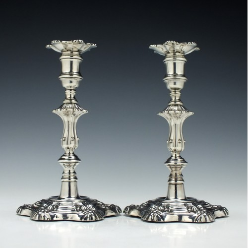 Pair Silver George III Candlesticks Sheffield 1827