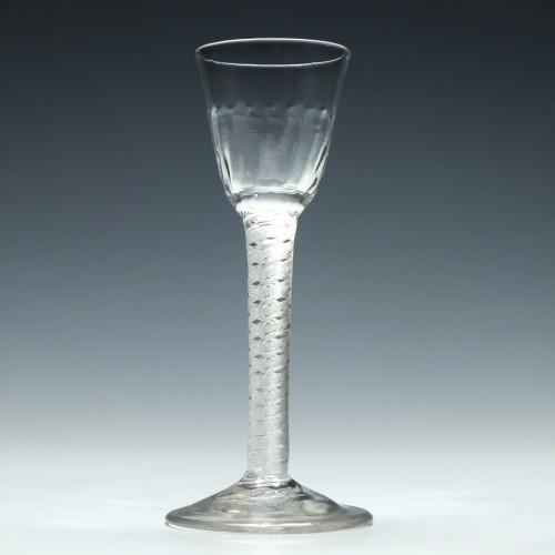 Georgian Double Series Mercury Twist Wine Glass c1750