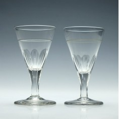 Pair of Engraved Georgian Slice Cut Wine Glasses c1800