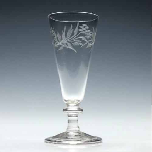 Engraved Georgian Balustroid Ale Glass c1820