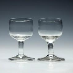 Pair of Georgian Dram Glasses c1750