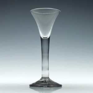 18th Century Trumpet Bowl Plain Stem Wine Glass c1750