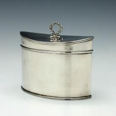 Navette Shaped Silver Tea Caddy London 1920