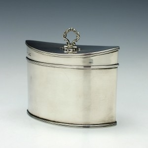 Navette Shaped Silver Tea Caddy London 1920