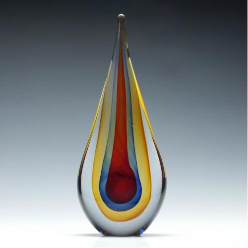 Murano Sommerso Teardrop Sculpture By Flavio Poli