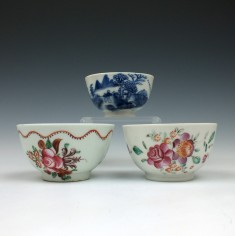 Reference Trio of Chinese Teabowls c1780