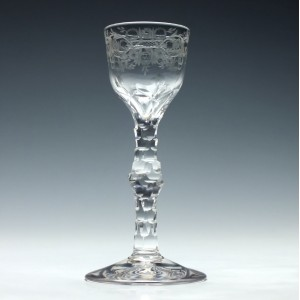 Regency Facet Cut Stem Wine Glass c1820