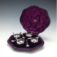 Four Silver Salts In Case London 1863
