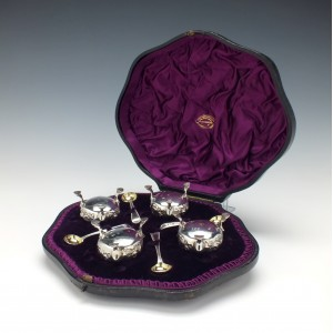 Four Silver Salts In Case London 1863