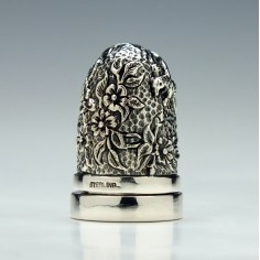 20th Century Silver Thimble With Integral Pincushion
