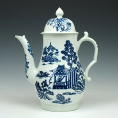 Worcester Porcelain Man In The Pavilion Pattern Coffee Pot c1758