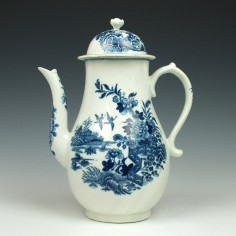 Worcester Porcelain Fence Pattern Coffee Pot c1775