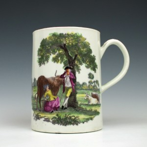 Worcester Porcelain Milking Scene -Rural Lovers Pattern Mug c1765