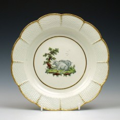 First Period Worcester Fable Dessert Plate c1775 Ex Lever Collection
