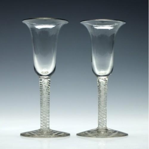Pair of Italian Opaque Twist Wine Glasses c1900