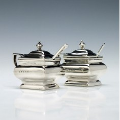Pair of Silver Mustards & Spoons 1929-30