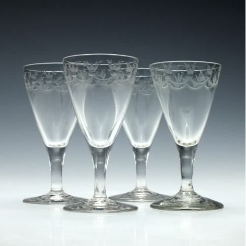 Four Engraved Georgian Port Wine Glasses c1780